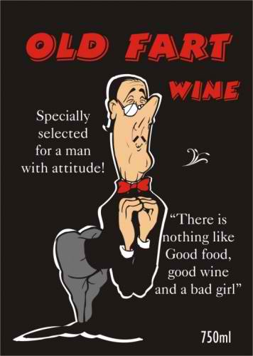 Old Fart Wine labelling, wine design, wedding wine, wine label