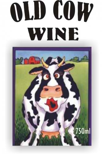 old cow wine labelling, wine design, wedding wine, wine label