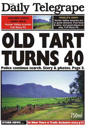 Old Tart Turns 40 wine labelling, wine design, wedding wine, wine label