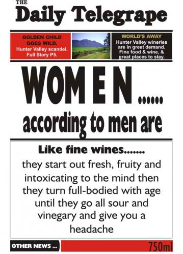 Women According to Men - wine labelling, wine design, wedding wine, wine label