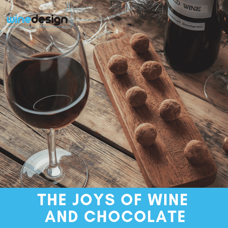 The Joys of Wine and Chocolate, wine labelling, wine design, wedding wine, wine label